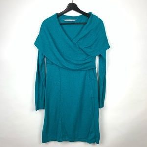 Athleta Sochi Teal Cowl Neck Wool Sweater Dress M